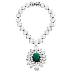 Prada Silver Tone Crystal Embellished Statement Necklace