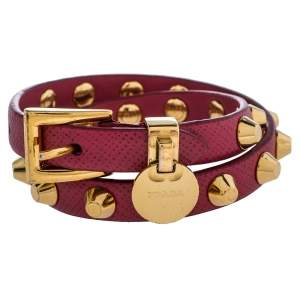 Prada Peonia Saffiano Leather Studded Gold Tone Double Wrap Bracelet M