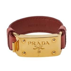 Prada Pink Ostrich Gold Tone Bracelet 17 cm