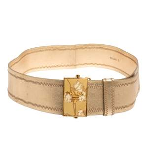 Prada Metallic Gold Leather Waist Belt 85 CM