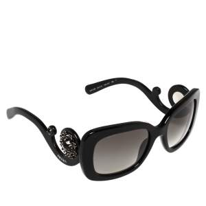 Prada Black SPR33P Crystal Embellished Rectangular Sunglasses