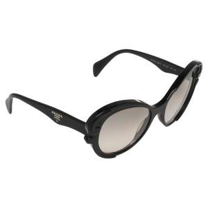 Prada Black Acetate SPR 28N Baroque Cat Eye Sunglasses