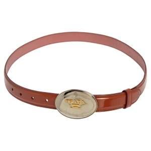 Prada Brown Patent Leather Logo Plaque Buckle Belt 85 CM