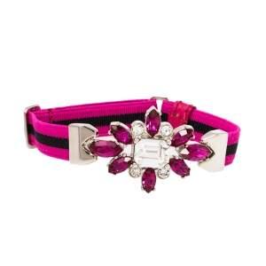 Prada Pink Crystal Embellished Striped Stretch Band Bracelet