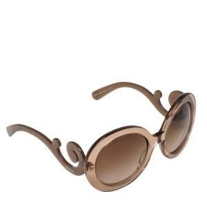 Prada Brown Acetate SPR27N Baroque Gradient Oversized Sunglasses
