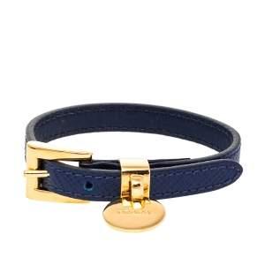Prada Blue Saffiano Leather Gold Tone Logo Charm Bracelet