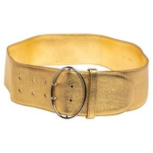 Prada Metallic Gold Leather Waist Belt 85 CM