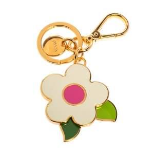 Prada Multicolor Flower Enamel Gold Tone Keychain/ Bag Charm
