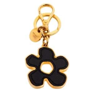 Prada Black Saffiano Leather Flower Bag Charm/Key Ring