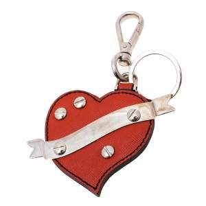 Prada Coral Red Leather Heart Bag Charm/ Key Ring