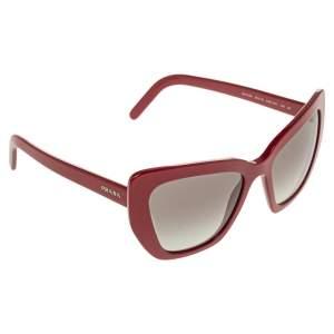 Prada Red Acetate SPR 08V Gradient Cat Eye Sunglasses