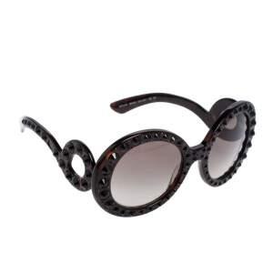 Prada Brown Tortoise Acetate SPR 31P Baroque Studded Oversized Sunglasses
