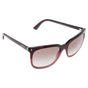 نظارة شمسية برادا أسيتات SPR 12R مربعة أحمر داكن متدرجة