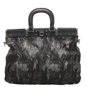 Prada Black Tessuto Gaufre Camouflage Business Bag