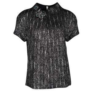 Prada Black and Grey Textured Wool Embellished High Neck Short Sleeve Top L