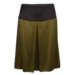 Prada Olive Green Satin Contrast Waist A-Line Skirt S