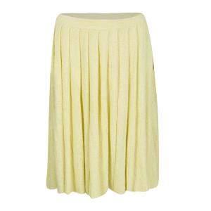 Prada Yellow Pleated Terry Cloth Skirt M