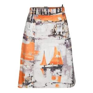 Prada Multicolor Oil Paint Effect Printed Denim Skirt S