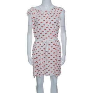 Prada White and Red Lip Print Pleated Waist Tie Detail Dress S