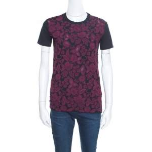 Prada Black and Wine Floral Lace Applique Detail Cotton Crew Neck T Shirt XS