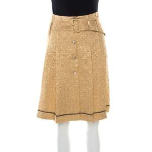 Prada Gold Floral Embossed Jacquard Belted Pleated Midi Skirt S