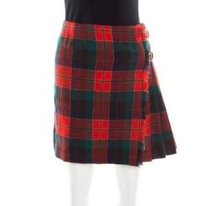 Prada Multicolor Tartan Plaid Pleated Wrap mini Skirt S