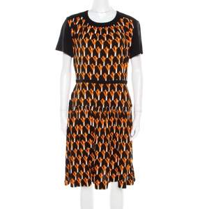 Prada Black and Orange Geometric Printed Crepe Short Sleeve Dress M