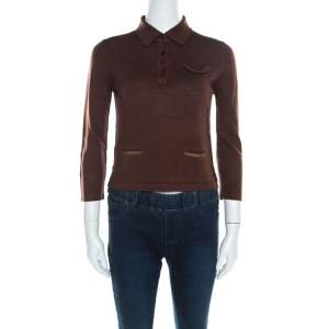 Prada Brown Silk and Wool Rib Knit Leather Patch Detail Polo T- Shirt M