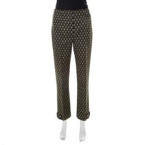 Prada Green Geometric Pattern Silk Embellished Hem Detail Trousers M