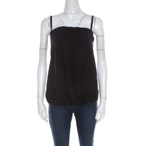 Prada Black Crepe Draped Front Detail Top S