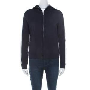 Prada Navy Blue Cotton Knit Zip Front Hooded Jacket M