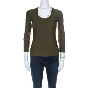 Prada Olive Green Silk Blend Pocket Detail Long Sleeve Top XS