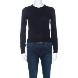 Prada Navy Blue Wool & Cashmere Knit Sweater S