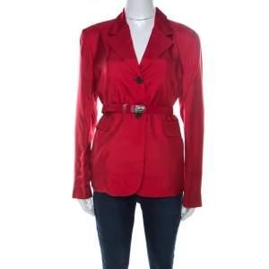 Prada Crimson Red Silk Belted Tailored Jacket L