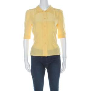 Prada Yellow Silk Button Down Short Sleeve Shirt M
