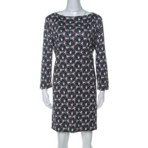 Prada Multicolor Floral Paisely Printed Silk Jersey Long Sleeve Shift Dress L