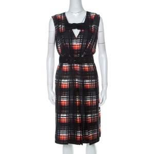 Prada Black and Red Plaid Printed Silk Sleeveless Belted Dress M