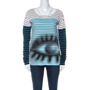 Prada Multicolor Stripes And Eye Print Cotton Long Sleeve T-Shirt XS