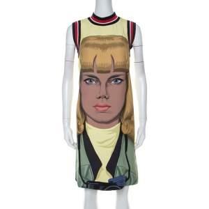 Prada Yellow Face Print Crepe Sleeveless Knee Length Dress S