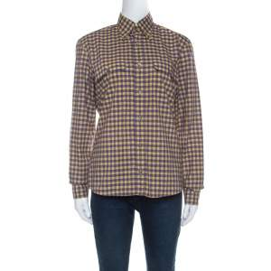 Prada Purple and Yellow Checked Cotton Button Front Shirt S