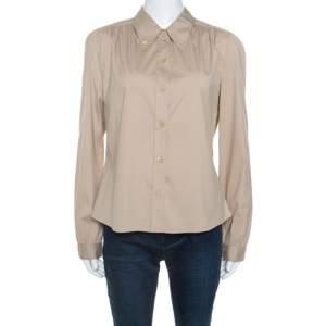 Prada Khaki Cotton Blend Button Down Collar Shirt L