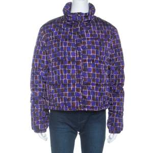 Prada Purple Printed Technical Fabric Puffer Jacket M