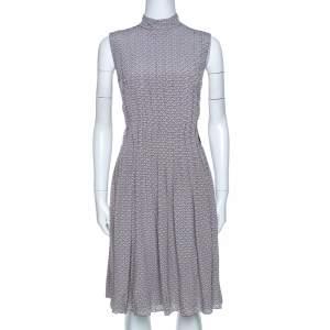Prada Grey and Mauve Geometric Printed Silk Pleated Dress M