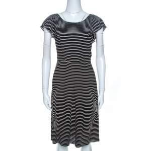 Prada Black and White Crepe Illusion Stripe Butterfly Sleeve Dress M