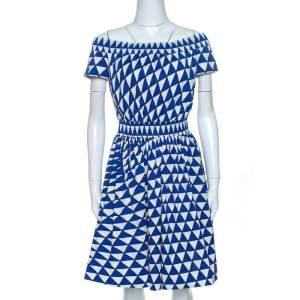Prada Blue and White Geometric Printed Cotton Off Shoulder Dress M