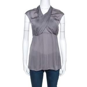 Prada Grey Silk Draped Front Short Sleeve Tunic Top M