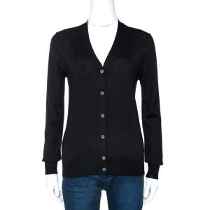 Prada Black Wool Knit Button Front Cardigan XS