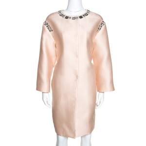 Prada Champagne Satin Embellished Detail Lightweight Coat M
