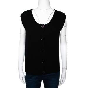 Prada Black Cashmere Knit Button Front Sleeveless Cardigan S
