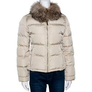 Prada Beige Down Quilted Fur Collared Jacket S